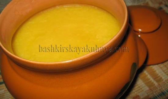 Рецепт блюда башкирской национальной кухни - топленое масло